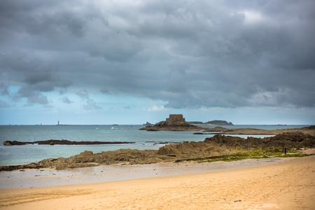 Low tide and Fort National in Saint Malo, Brittany, France