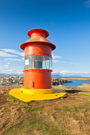 Red Lighthouse above Stykkisholmur, Snaefellsnes peninsula, the western part of Iceland Stock Photo