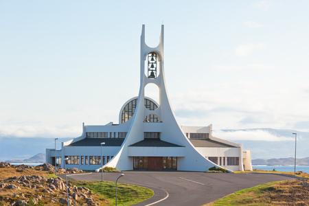 Modern Iceland Church in Stykkisholmur