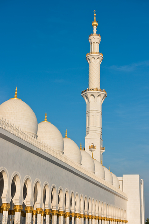 Sheikh: View of famous Sheikh Zayed White Mosque in Abu Dhabi, UAE