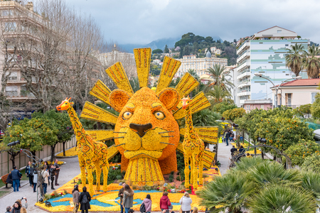 FRANCE, MENTON - FEBRUARY 18: 84th Lemon Festival (Fete du Citron) in Menton town on the French Riviera. Huge citrus constructions made from lemons and oranges on Broadway theme on February 18, 2017 Editorial