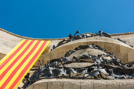 SPAIN, BARCELONA - SEPTEMBER 13: the facade of the house Casa Battlo in Barcelona, Spain on September 13, 2015 Editorial