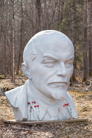 White monument of Lenin in park of Razliv lake, Russia