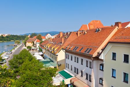 Skyline of Maribor city in the sunny day, Slovenia