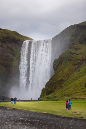 Skogafoss Waterfall, southern part of Iceland, at overcast weather Stock Photo