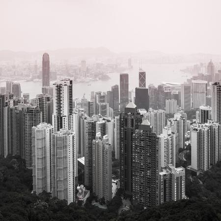 Haze Hong Kong downtown view from Victoria peak Stock Photo