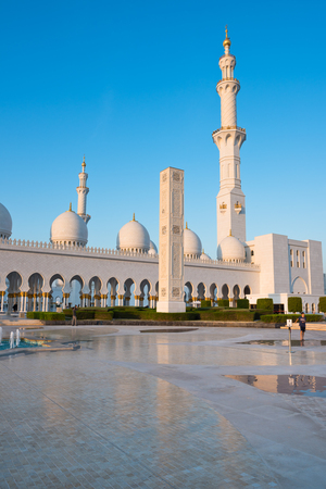 View of famous Sheikh Zayed White Mosque in Abu Dhabi, UAE