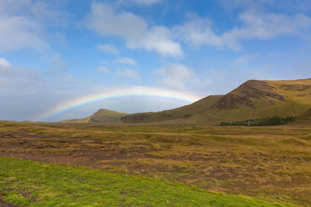 South Icelandic landscape with rainbow