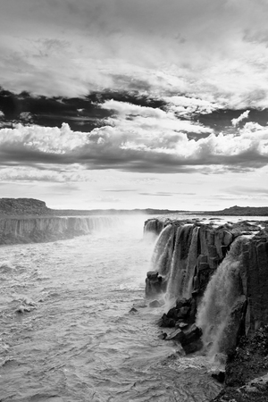 Dettifoss Waterfall in Iceland. Black and White image