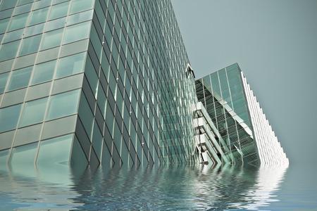 Office Glas Wolkenkratzer Gebäude vom Wasser überflutet Standard-Bild - 87152894