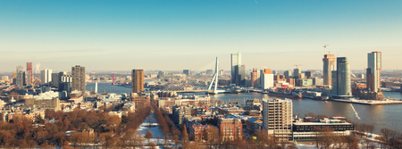 Rotterdam view from Euromast tower at winter sunny day. Long wide banner