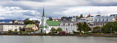 Capital of Iceland, Reykjavik, view. Long wide banner