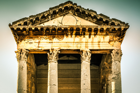 Roman temple of Augustus in Pula, Croatia. Filtered image Stock Photo
