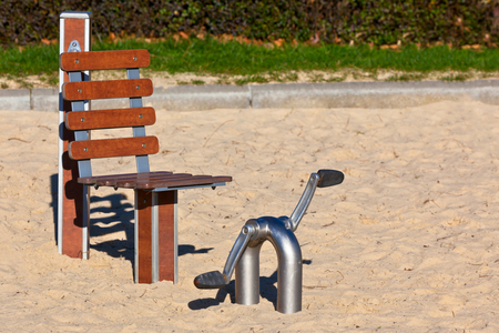 Outdoor fitness equipment for senior people in a public park. Horizontal shot