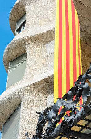 SPAIN, BARCELONA - SEPTEMBER 13: the facade of the house Casa Battlo in Barcelona, Spain on September 13, 2015 Redactioneel