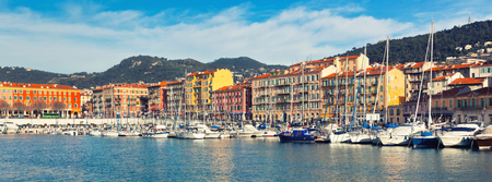 View on Port of Nice and Luxury Yachts, French Riviera, France. Long wide banner 版權商用圖片