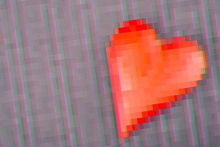 Red Heart in Glitch digital distortion