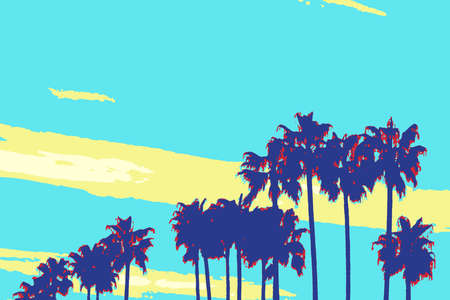 Palm Tree Silhouettes in pop art poster style Stock Photo