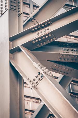 Steel Bridge frame close up. Toned image