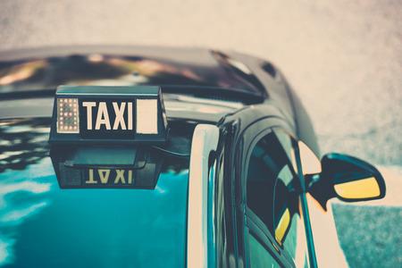 Vacant taxi detail, Barcelona, Spain. Horizontal shot