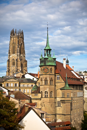 Old City of Fribourg skyline in Switzerland