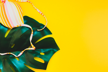 Tropical jungle palm monstera leaves and a womans swimsuit top on bright yellow paper background. Summer vacations creative flat lay concept template for text Stock Photo