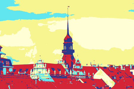 Maribor, Slovenia roofscape in pop art poster style Stock Photo
