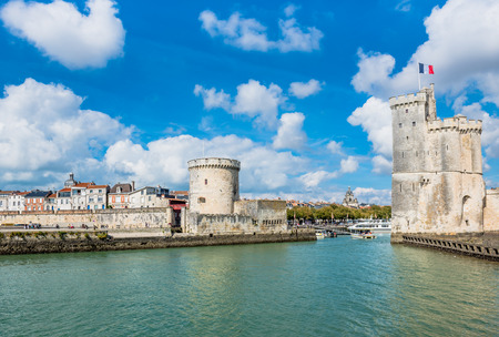 Old Harbour towers of ancient fortress of La Rochelle France