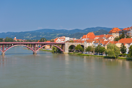 Skyline of Maribor city embankment in the sunny day, Slovenia Foto de archivo
