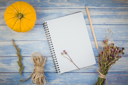 Top view of autumn orange pumpkins and dry flowers with grass thanksgiving background over blue toned wooden table with notebook mock up and copy space in rustic style, template for text