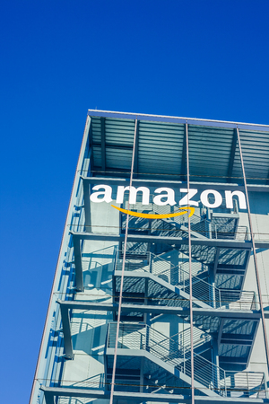 MUNICH, GERMANY - DECEMBER 26, 2018: Amazon logo at the company office building located in Munich, Germany