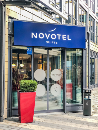 MUNICH, GERMANY - DECEMBER 26, 2018: Novotel suites logo at hotel building located in Munich, Germany. Mobile photo Editöryel
