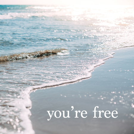 Summer sand beach and seashore waves background. Defocused blurred square holiday vacations concept with motivational quote You are free