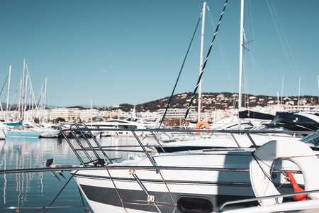 View of yachts in Marina of Cannes, French Riviera, France