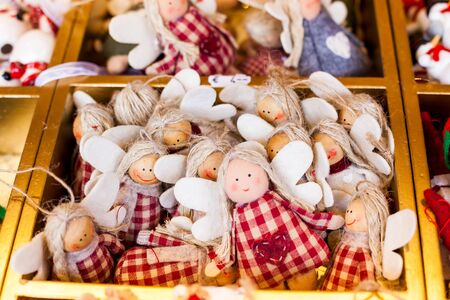Christmas market in Germany, Europe. Beautiful Christmas holiday tree decoration on outdoor market in Munich.