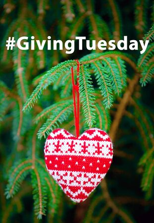 Giving Tuesday is a global day of charitable giving after Black Friday shopping day. Charity, give help, donations and support concept with text message sign and red knitted heart on fir-tree branch