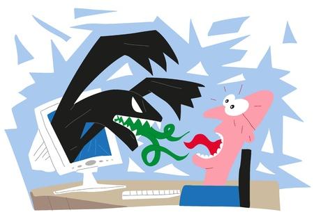 virus informatico: hombre divertido y virus informáticos