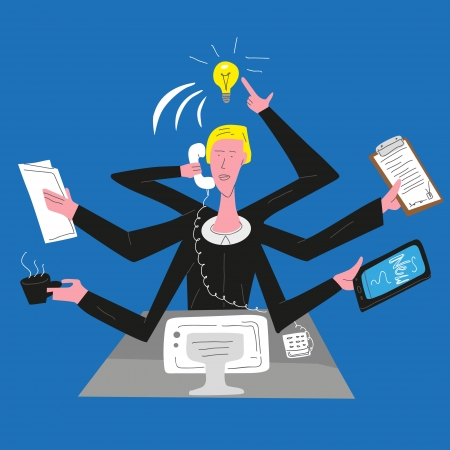workaholic: busy man Illustration