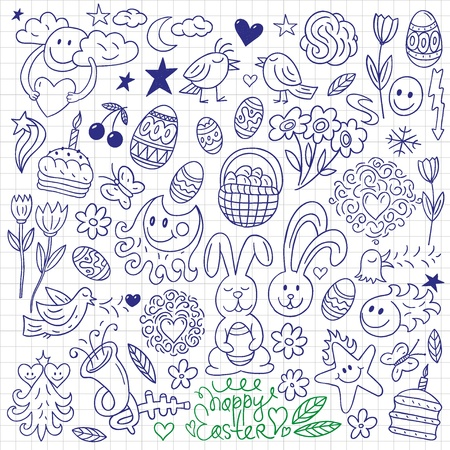 Easter - doodles set Vector