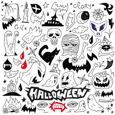 Halloween , evil , monsters - doodles set Stock Vector - 18001863