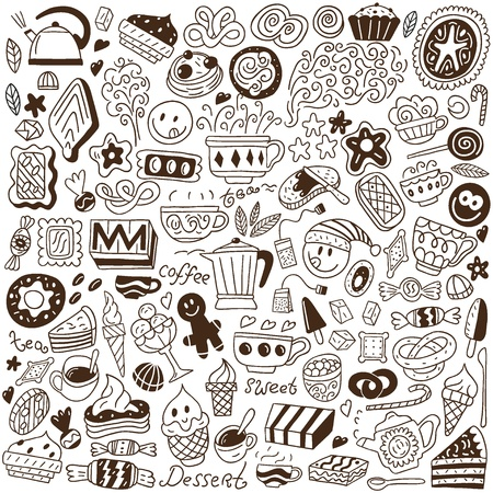coffee and sweets - doodles set Stock Vector - 18002452