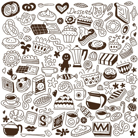 coffee and sweets - doodles set Vector