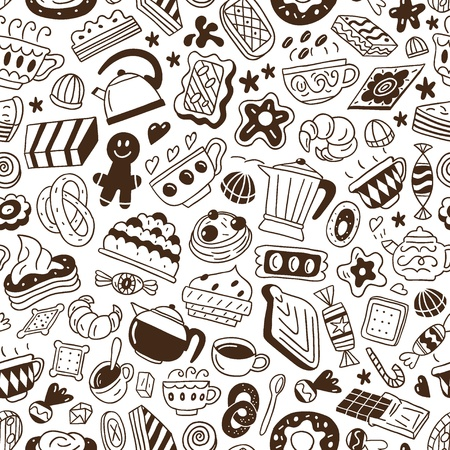 food and drink holiday: coffee and sweets - seamless background