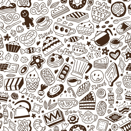 sugar spoon: coffee and sweets - seamless background