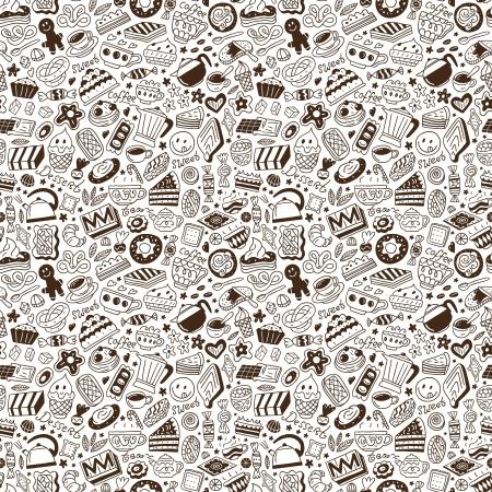 Kaffee und Süßigkeiten - nahtlose Hintergrund