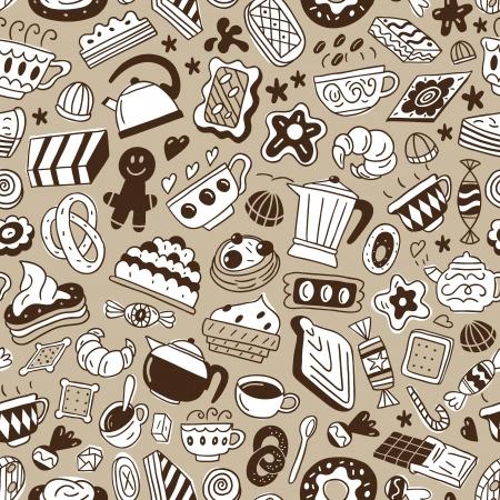 koffie en snoep - naadloze achtergrond