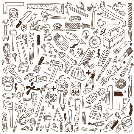 drill: working tools - doodles collection