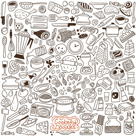 food and drink holiday: Cookery doodles Illustration