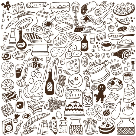 Eten doodles collectie Stock Illustratie