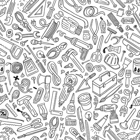 working tools - seamless vector background Vector